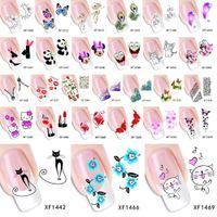 geçici yay dövmeleri toptan satış-ZKO 1 Sayfalık Opsiyonel Çiçek Yaylar Kedi Vb Su Transferi Sticker Nail Art Çıkartmaları Çiviler Sarar Geçici Dövmeler Filigran Araçları