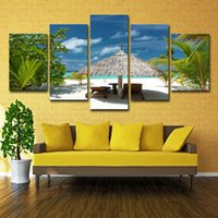 ingrosso dipinti paesaggi marini tropicali-Dipinti su tela Wall Art Room HD Prints 5 pezzi Tropical Island Immagini Palm Trees Beach Seascape Poster Home Decor