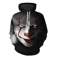 hoodies dos homens print print venda por atacado-Men Horror Clown Outono Com Cordão 3D Impresso Hoodies Das Mulheres Dos Homens Casal Hoodies 3D Impressão Com Capuz Pulôveres Casuais Streetwear Tops