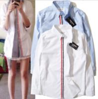 мужская с длинным рукавом поло синий оптовых-Весна осень мода ТБ женская мужская пара блузки рубашки с длинным рукавом белый и синий пара хлопок рубашки поло
