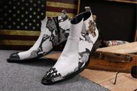 i̇ngiliz erkek çizmeleri toptan satış-Yüksek top yüksek topuklu demir kafa sivri botlar erkek deri İngiliz gündelik erkek ayakkabı saç stilisti artan çizmeler