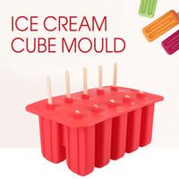 dondurma lolly kalıpları toptan satış-Ev Diy Lolly Silikon Dondurma Küp Kalıp 10 Kılıf Tepsi Pan Mutfak Dondurulmuş Buz Kalıpları Popsicle Makinesi Popsicle Araçları