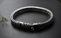 Wholesale full hand bracelets for sale - Group buy 925 Silver Bracelet Hand Weaving Carved Clasp Retro Style Full Hormone Thick Powerful Men s Chain Bracelet