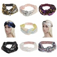 Wholesale shiny black hair online - 9 Colors Sequins Fish Scales Headband Shiny Reversible Turban Elastic Cross Knot Headbands For Women Hair Band Party Favor CCA10395