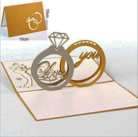 Wholesale glossy invitations - Wholesale Gold Laser Cut 3d Ring Pop up Wedding Invitations Romantic Handmade Valentine's Day for Lover Postcard Greeting Card 2 ringAJI-771