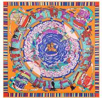 seda tibet al por mayor-Envío gratis Nueva Tíbet peregrinación señora carácter caballo 130 cm * 130 cm sarga de seda pesada bufandas bufanda en la señora H estilo oficial sin logo