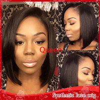Wholesale short side wigs - Side Paart Black Bob Straight Short Wigs Heat Resistant Glueless Lace Front Synthetic Wigs with Baby Hair for Africa American Wig