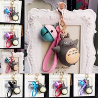 Wholesale gold plastic bells - Cute Anime Totoro Keychain with Bell Carabiner Keychain Key Rings Bag Hangs Fashion Jewelry for Women Kids Drop Ship 340055