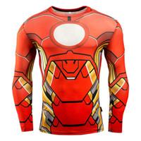 superheld kompressionsstrumpfhosen großhandel-Kostenloser Versand Superhero Superman / Batman / Spiderman Männer Langarm T-shirt Kompression Strumpfhosen Tops T-shirt C07