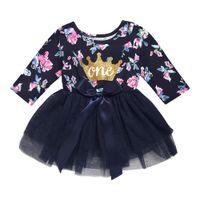 kızlar için uzun süreli tam tutu toptan satış-Sıcak Bebek Kız Goldern Taç Bir Çiçek Desen Tam Baskılı Uzun Kollu Pamuk Tutu Dantel Elbise Kız Parti Elbiseler Gecelik