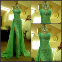 Wholesale Diamond Evening Dresses - 2016 High Collar Emerald Green Evening Dresses with Crystal Diamond Arabic Prom Gowns Long Lace Sexy Side Slit Dubai Evening Dresse Custom