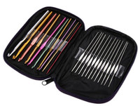 ingrosso i ganci dell'uncinetto liberano il trasporto-DHL LIBERA il trasporto 22pcs / set 22pcs alluminio crochet aghi Knit Weave Stitches Knitting Craft Case