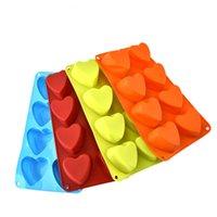 3d heart mold großhandel-8 gitter 3D DIY Silikon herzförmigen Eiswürfel Schokoladenform Süßigkeiten Cookie Fondant Mould Kuchen Dekoration B