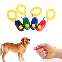 ingrosso polso del cane-Dog Clicker Pet Trainer Pet addestramento cane clicker Suono regolabile Catena chiave e cinturino da polso Doggy Train Fare clic su Pet Training Tool T1I756