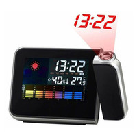 Digital LCD Projection Desk Clock Weather Multi função Relógio de alarme Color Screen Calendar Home Desk Desk Clocks
