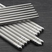 palillos de acero inoxidable de alta calidad al por mayor-Palillos al aire libre 201 Material de acero inoxidable con rosca 22.5cm Largo Kid Adult Square útil alta calidad 0 7jq X
