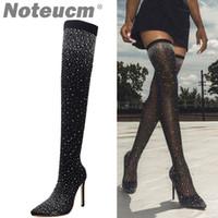 botas de estoque venda por atacado-2018 outono feminino sexy lantejoulas pano meia calcanhar de alta coxa sobre o joelho bota elástico sapato brilho stiletto moda para wome