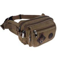 Wholesale Brown Canvas Belt - 2018 Fashion Casual Canvas Messenger Bags Waist Packs Purse Men Portable Vintage Men Waist Bags Travel Belt Wallets