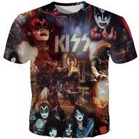 chemises hard rock achat en gros de-3D Tshirt Hommes KISS Hard Rock Band 3D Imprimer Pop Métal Musique Mode T-shirts Tops À Manches Courtes T-shirt Rue Style Été