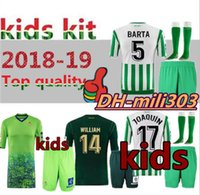 Wholesale uniform sets online - 2018 REAL BETIS Kids kits Soccer Jersey JOAQUIN BOUDEBOUZ MANDI TELLO INUI JAVI GARCIA child Football shirt uniforms set