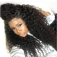Wholesale glueless full lace wigs dhl - DHL Shipping Kinky Curly Full Lace Wigs Glueless Brazilian Human Hair Lace Wigs with Baby Hair Pre Plucked Natural Hairline 150% Density