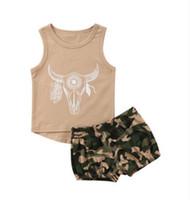 ingrosso vestiti della mucca del neonato-Ragazzi Ragazze Baby Clothing Sets camouflage set Camicia Shorts 2Pcs Set Summer Baby T-shirt senza maniche Boutique infantile Outfits Deer Cow Head