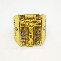 Wholesale stone rings designs men - Gold Plated Crystal Prayer Christian Jesus Design Holy Cross carved ring for Men Women Finger Ring