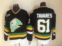 ingrosso patch vintage-Vintage LONDON KNIGHTS OHL 61 TAVARES Maglie da hockey a buon mercato Blue Toronto Maple Leafs TAVARES Hockey Shirts A Patch