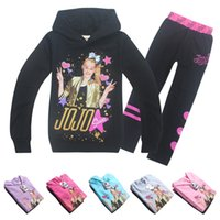 kış çocukları eşofman setleri toptan satış-DHL jojo siwa bebek kız eşofman sevimli kız sonbahar kış kıyafetler uzun kollu kapşonlu tişörtü + pantolon 2 adet çocuk butik giysi seti