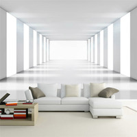 tv wanddekor großhandel-Benutzerdefinierte Größe 3D Modernen Minimalistischen Raum Expansion Wohnzimmer Sofa TV Hintergrund Wohnkultur Wandmalerei Wandbild Gedruckt
