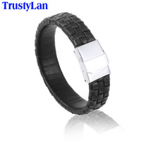 Wholesale cool wrap bracelets for sale - Group buy TrustyLan Fashion MM Wide Brown Leather Men Bracelet Stainless Steel Brazalet Cool Mens Wrap Bracelets Bangles