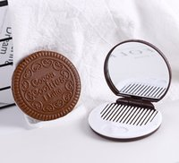 Wholesale Pocket Sandwich - 1200pcs Mini Cute Cocoa Cookies Mirror Pocket Portable Mirror Chocolate Sandwich Biscuit Makeup Plastic Makeup Tools Face Compact Mirror