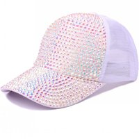 big sale 2765a 6d8d5 Personality Designer Hats For Women Summer Breathable Baseball Cap Sun  Shading With Shiny Rhinestone Snapback Hot Sale 20pc BB