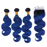 pieza superior de la armadura del pelo al por mayor-Dark Roots 1b blue Ombre Hair 3Bundles con cierre de encaje 4x4 Color azul El cabello teje con piezas de cierre superior 4Pcs / Lot
