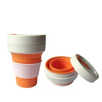 Wholesale wholesale reusable plastic cups - New Silicone Collapsible Cup Travel Camping Hiking Mug Portable Reusable Pocket Cup Bottle With Leak Lid 12oz (350ml) HH7-405