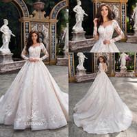 3d wedding dress designer großhandel-Entwerfer-elegante Kirchen-Zug-Spitze-Applikations-Brautkleider 2018 Schatz-Ball-Kleid-langärmlige Brautkleider 2019 Fall-Winter BA9151