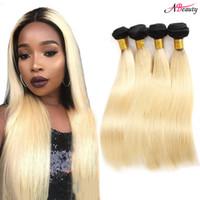 brezilya insan saç uzatma 3pc toptan satış-1b Sarışın Brezilyalı Düz Saç Demetleri 3 ADET Sarışın 1b 613 Renk Remy 100% İnsan Saç Uzantıları 10-24 inç
