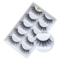 mink pelz falsche wimpern großhandel-5 Paar Make-up falsche Wimpern natürliche dicke 100% echte 3d Nerz Wimpern Pelzstreifen gefälschte Wimpern Nerz Wimpernverlängerung