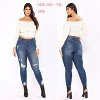 Wholesale vintage high waist skinny jeans - Plus Size Jeans Hole Ripped Women Pants Cool Denim Vintage Slim Jeans For Girl High Waist Casual Pants Female Slim Jeans