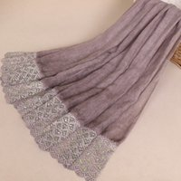 ingrosso big lace scarf-Scialli stile nazionale scialli donne lungo mujer bufanda big size musulmano hijab patchwork di pizzo sciarpa sciarpe 90x190 cm avvolgere