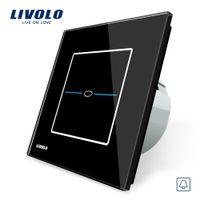 Wholesale livolo crystal glass switch panel resale online - Livolo EU Standard Door Bell Switch Black Crystal Glass Switch Panel V Touch Screen Door Bell Switch VL C701B