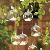 jarrones de cristal transparente al por mayor-Decoración del hogar de la boda Bola transparente Forma de globo Claro florero de cristal colgante Plantas Terrario Contenedor Micro