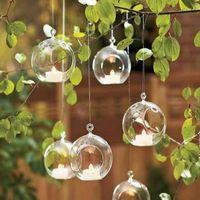 vase transparent achat en gros de-Mariage Décor À La Maison Transparent Balle Forme De Globe Verre Suspendu Vase Plantes À Fleurs Terrarium Conteneur Micro