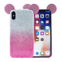 Wholesale 3d animals phone covers - Fashion Cute Animal Mouse Ears Phone Case For Iphone Apple X 3D Cartoon TPU Back Case Cover For Iphone 6 7 8 PLus