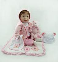 Wholesale Silicone Dolls Cheap - 55cm Hot sale cheap dollar Victoria adora Lifelike newborn Baby Bonecas Bebe kid toy girl soft silicone reborn baby dolls