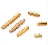 magnetische armbänder halsketten großhandel-10 teile / los 2 reihen Gold Magnetverschluss für DIY Armband und halsketten F786