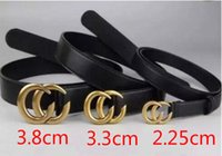 Wholesale wide leather belt black - HOT classic 10 style 3.8cm wide black belt with 5COLORS double alphabet buckle real picture 100cm-125cm GOOD QUALITY as a gift