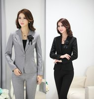 Wholesale Formal Wear Uniforms - Spring Autumn Formal Uniform Design Pantsuits For Business Women Work Wear Jackets And Pants Ladies Office Trousers Blazers Set