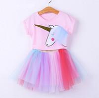 Wholesale retail girl shirt for sale - Retail Girl Summer Clothing Sets Cartoon Unicorn T shirts Colorful Gauze TUTU Skirt Fashion Outfits Children Clothing T E1544