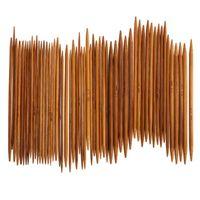 ingrosso set a maglia a mano-55Pcs 11sizes Ferri da maglia in bambù carbonizzati Ganci a punta doppia uncinetto Set di strumenti per maglieria a mano Craft Needles